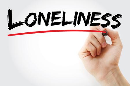 soltería: Mano, escritura, soledad, marcador, concepto, Plano de fondo Foto de archivo