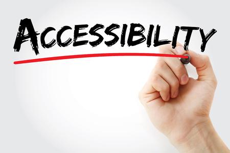 Escritura de la mano Accesibilidad con marcador, fondo de concepto Foto de archivo - 76195657