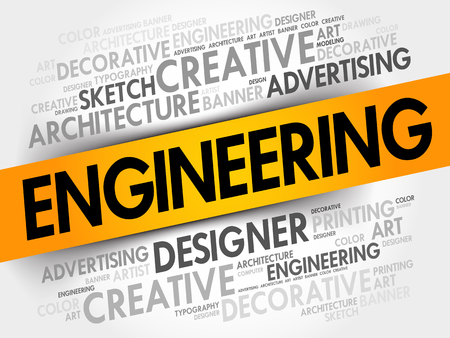 architect tools: Engineering word cloud, creative business concept background