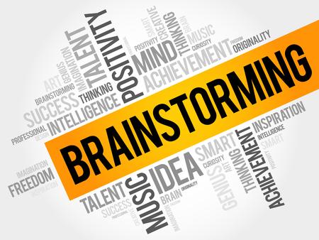 Brainstorming word cloud, business concept Illustration