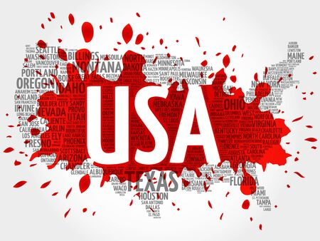 USA Map word cloud made with words cities names, vector collage