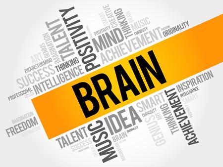 Brain word cloud, business concept