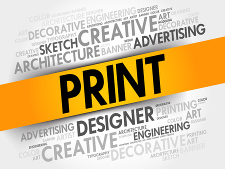 article writing: PRINT word cloud, creative business concept background Illustration