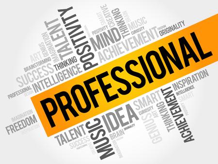 Professional word cloud, business concept Illustration