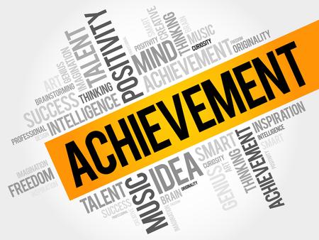 Achievement word cloud, business concept Illustration