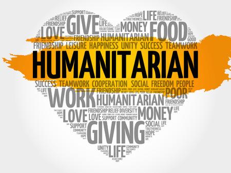 altruism: Humanitarian word cloud, heart concept Illustration