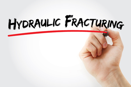 Hand writing Hydraulic Fracturing with marker, concept background Stock Photo