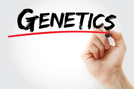 Hand writing Genetics with marker, concept background