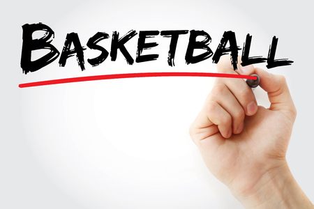 Hand writing Basketball with marker, sport concept background