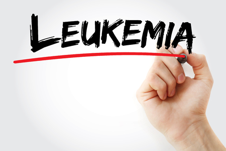 radiotherapy: Hand writing Leukemia with marker, health concept background