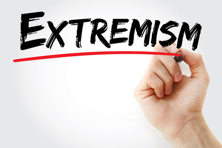 fundamentalism: Hand writing Extremism with marker, concept background