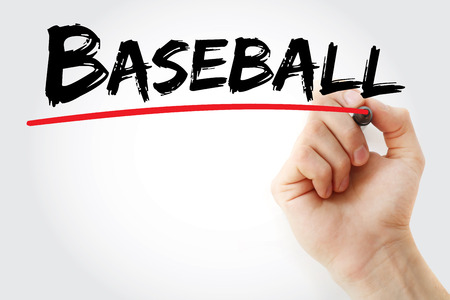 Hand writing Baseball with marker, sport concept background