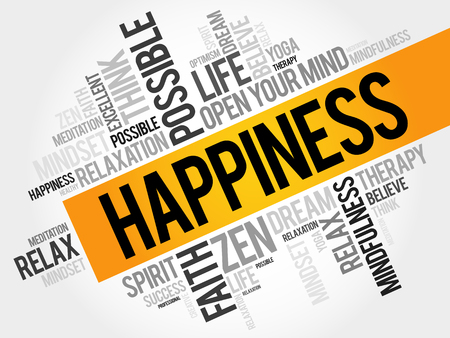 Happiness word cloud concept Illustration
