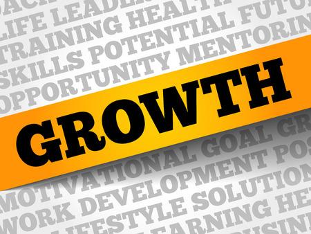 Growth word cloud, business concept Çizim