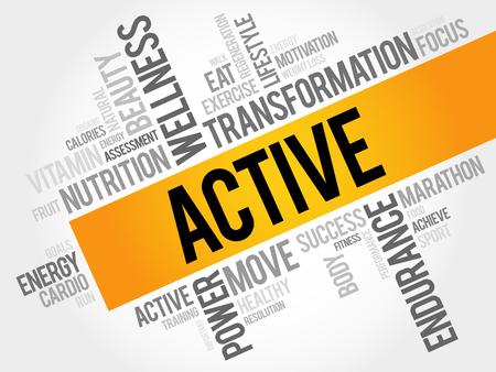 consonance: ACTIVE word cloud, fitness, sport, health concept Illustration