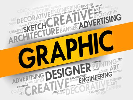 Graphic word cloud, creative business concept background Illustration