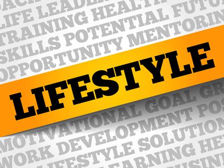 Lifestyle word cloud, business concept Illustration