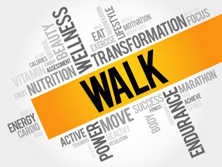 endurance run: WALK word cloud, fitness, sport, health concept