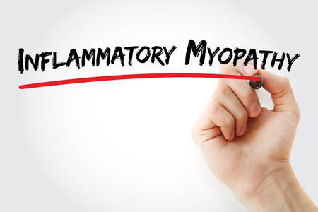 myopathy: Hand writing inflammatory myopathy with marker, concept background