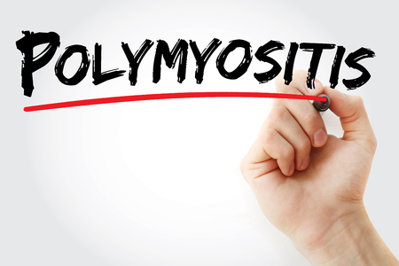 myopathy: Hand writing polymyositis with marker, concept background