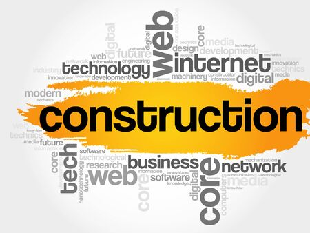 Construction word cloud, technology business concept background Illustration