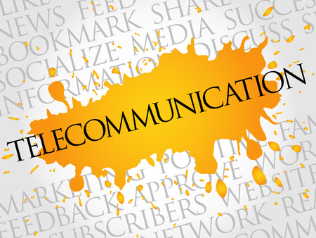 Telecommunication word cloud, technology business concept background