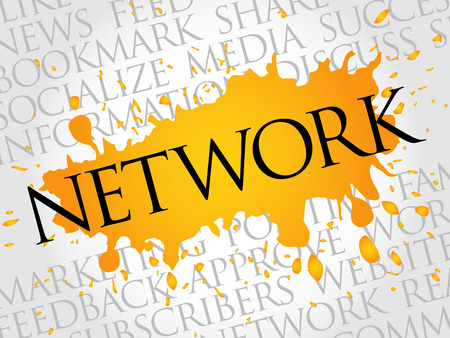 Network word cloud, technology business concept background Illustration