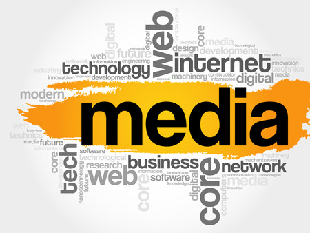 Media word cloud, technology business concept background