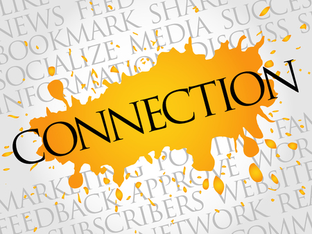 wiki: Connection word cloud collage, business concept background Illustration