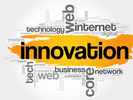 INNOVATIE woordwolk, technologie bedrijfsconceptenachtergrond Vector Illustratie