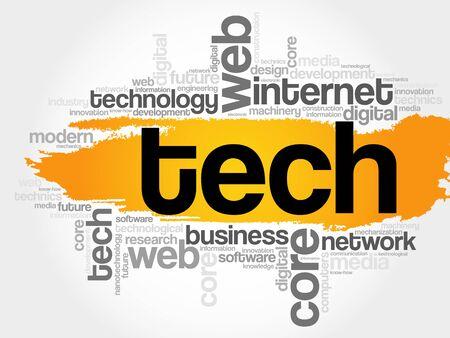 Tech word cloud, technology business concept background