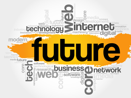 Future word cloud, technology business concept background Illustration