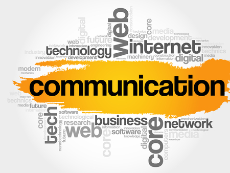 keyword: COMMUNICATION word cloud collage, technology business concept background