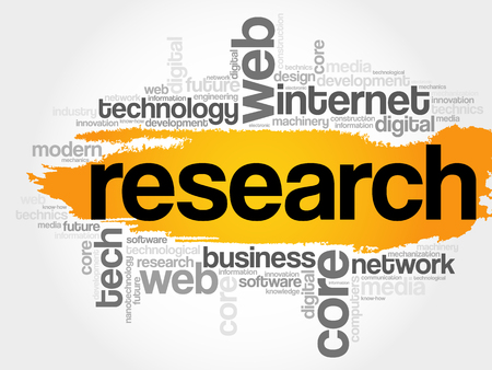 rd: Research word cloud, technology business concept background Illustration