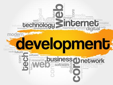 erp: Development word cloud, technology business concept background