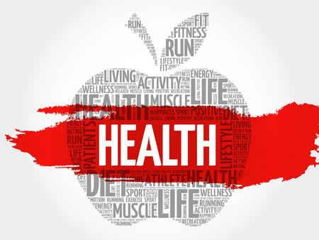 hospital expenses: Health apple word cloud concept Illustration