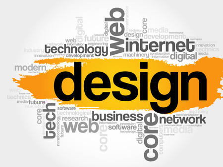DESIGN word cloud, technology business concept background Illustration