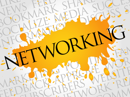 Networking word cloud, technology business concept background