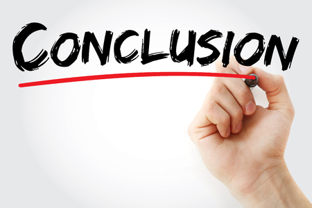 Hand writing Conclusion with marker, concept background Stock Photo