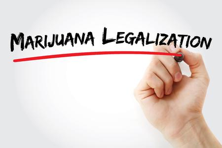 legislators: Hand writing Marijuana Legalization with marker, concept background