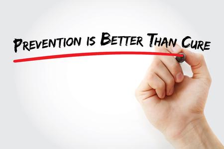 Handschrift Preventie is beter dan Cure met markering, concept achtergrond Stockfoto