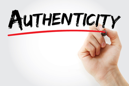 legitimacy: Hand writing Authenticity with marker, concept background