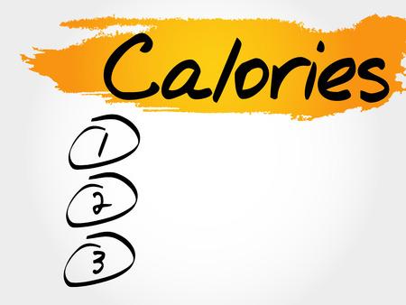 CALORIES blank list, fitness, sport, health concept Illustration