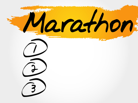 intermediate: MARATHON blank list, fitness, sport, health concept