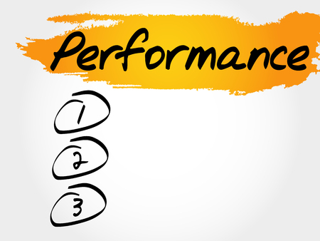 PERFORMANCE blank list, fitness, sport, health concept