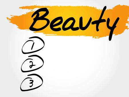 beuty: BEAUTY blank list, fitness, sport, health concept