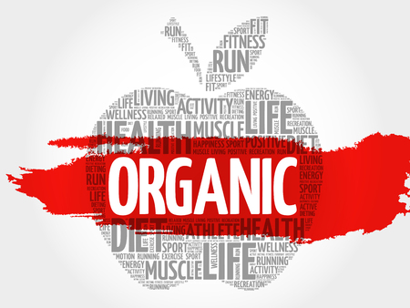 vitamine: ORGANIC apple word cloud, health concept Illustration
