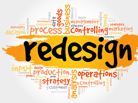 REDESIGN word cloud, business concept
