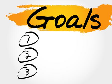 work less: GOALS blank list, fitness, sport, health concept