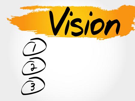 discernment: Vision blank list, business concept